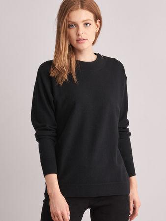 Repeat Cashmere Pullover mit Stehkragen und Leder-Detail braun