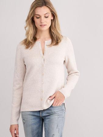 Repeat Cashmere Rundhals-Cardigan aus Baumwollmischung braun