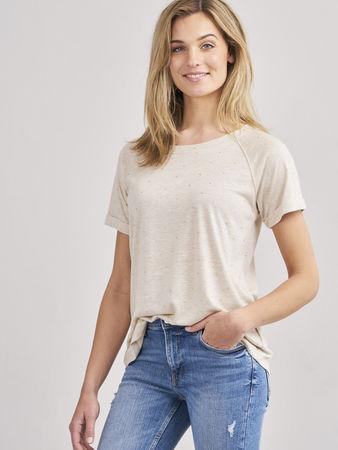 Repeat Cashmere T-Shirt mit goldenen Herz-Print braun