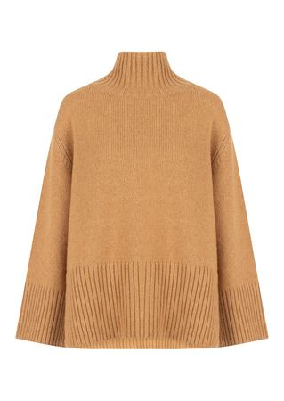 Roberto Collina Pullover aus Woll-Mix in Camel