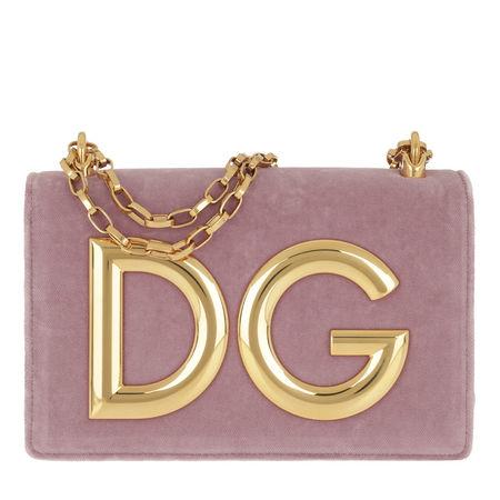 Dolce&Gabbana  Satchel Bag  -  DG Girls Crossbody Bag Velvet Malva/Rosa Poudre  - in rosa  -  Satchel Bag für Damen braun