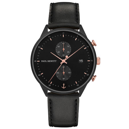 Paul Hewitt  Uhr Chrono Line Black Sunray IP Schwarz/Roségold Lederarmband Schwarz Damen schwarz