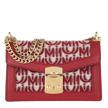 Miu Miu  Umhängetasche  -  Confidential Jaquard Shoulder Bag Corda/Rosso  - in rot  -  Umhängetasche für Damen