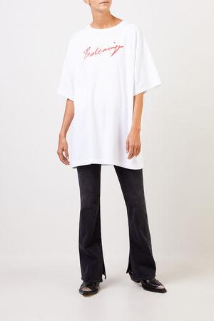 Balenciaga  - T-Shirt mit Logo-Schriftzug Weiß/Rot 100% Baumwolle Made in Portugal