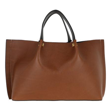 Valentino  Shopper  -  Go Logo Shopper Leather Tan/Nero/Rouge  - in braun  -  Shopper für Damen braun
