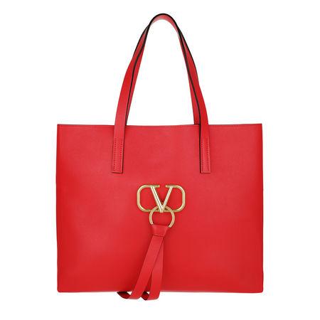 Valentino  Shopper  -  V Ring Bag Leather Rouge/Rouge  - in rot  -  Shopper für Damen rot