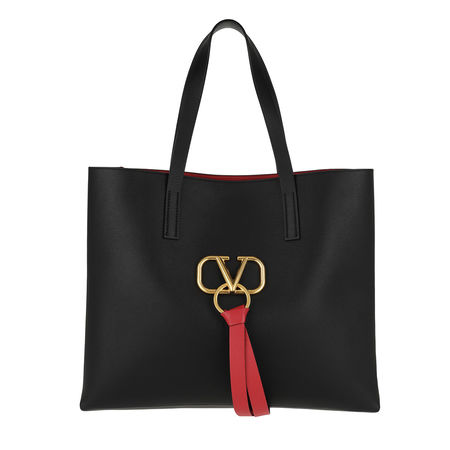 Valentino  Tote  -  V Ring Bag Leather Black/Rouge  - in schwarz  -  Tote für Damen schwarz