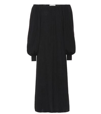 Ryan Roche Off-Shoulder-Kleid aus Kaschmir schwarz