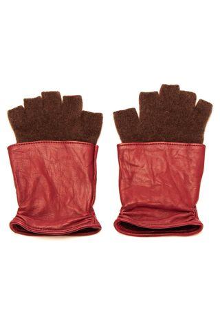 S'amuser Handschuhe aus Leder und Kaschmir in Weinrot rot
