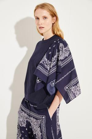 Sacai  - T-Shirt mit Bandana-Detail Marineblau 100% Baumwolle Made in Japan 1 = 34 2 = 36 3 = 38 4 = 40