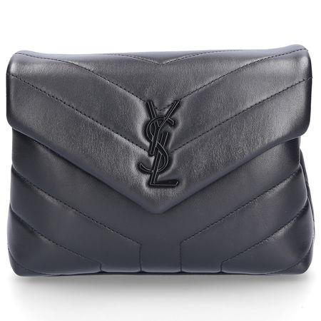 Saint Laurent Paris Handtasche LOU LOU TOY Kalbsleder Logo schwarz schwarz grau