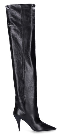 Saint Laurent Paris Overknees KIKI 85 Kalbsleder schwarz schwarz