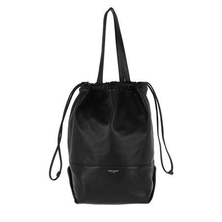 Saint Laurent Paris Saint Laurent Beuteltasche  -  Harlem Shopping Bag Lambskin Black  - in schwarz  -  Beuteltasche für Damen schwarz