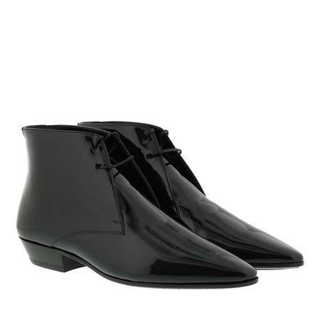 Saint Laurent Paris Saint Laurent Boots  -  Jonas Lace-Up Boots Patent Leather Black  - in schwarz  -  Boots für Damen grau
