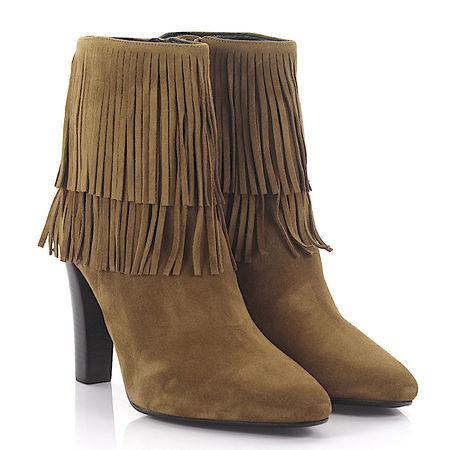 Saint Laurent Paris Saint Laurent High Heel Ankle Boots Veloursleder beige Fransen braun
