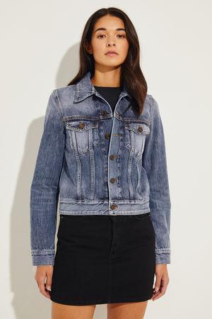 Saint Laurent Paris Saint Laurent - Jeansjacke mit rückseitigem Logo Blau 100% Baumwolle Größe des Models: 175 cm Made in Italy