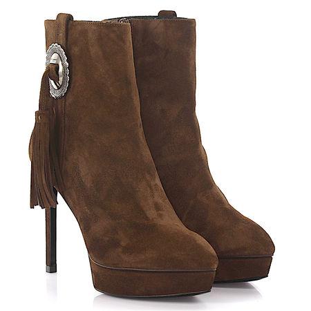 Saint Laurent Paris Saint Laurent Stiefeletten Boots Janis 80 Plateau Veloursleder braun Bommeln braun
