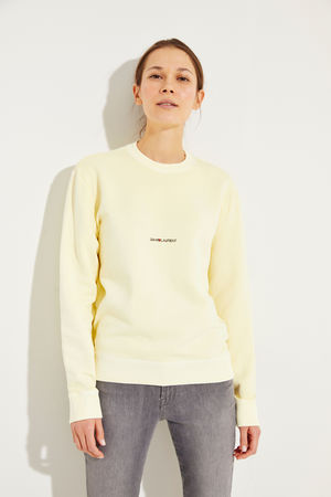 Saint Laurent Paris Saint Laurent - Sweatshirt mit frontalem Schriftzug Gelb 100% Baumwolle Made in Portugal