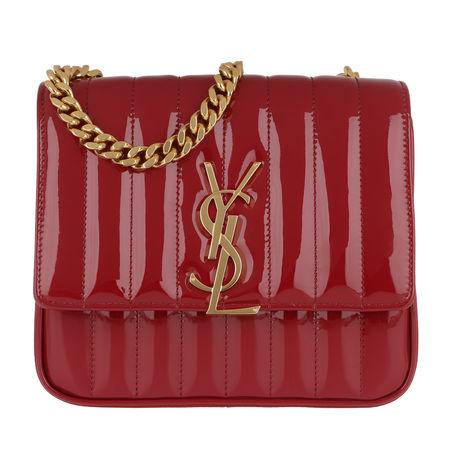 Saint Laurent Paris Saint Laurent Umhängetasche  -  Vicky Chain Bag Medium Patent Rouge Eros  - in rot  -  Umhängetasche für Damen rot
