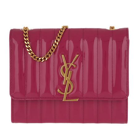 Saint Laurent Paris Saint Laurent Umhängetasche  -  Vicky Chain Wallet Quilted Patent Leather Freesia  - in pink  -  Umhängetasche für Damen pink