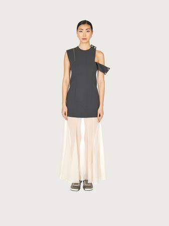 Salvatore Ferragamo  Damen Ärmelloses Kleid mit Seidenrock Braun