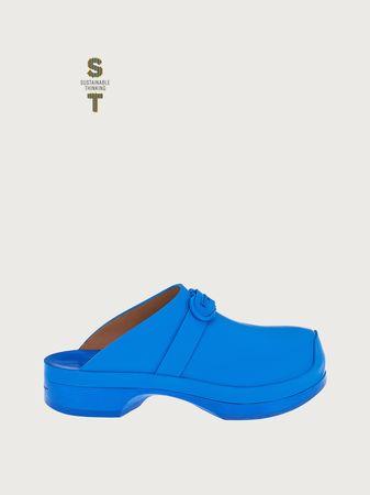 Salvatore Ferragamo  Damen Clog mit Gancini-Ornament Blau Größe 35.5