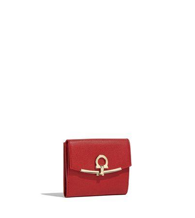 Salvatore Ferragamo  Damen Französische Brieftasche mit Gancini-Element Rot rot