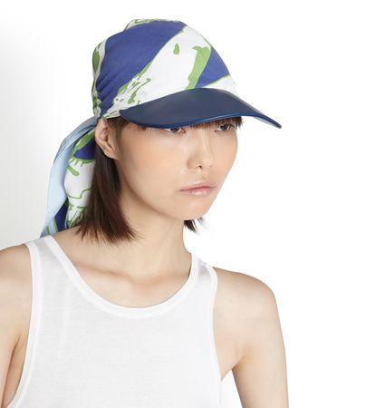 Salvatore Ferragamo  Damen Hat with silk insert Blau weiss