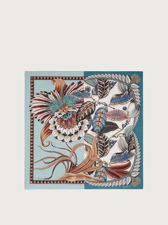 Salvatore Ferragamo  Damen Macro orchid print silk scarf Blau