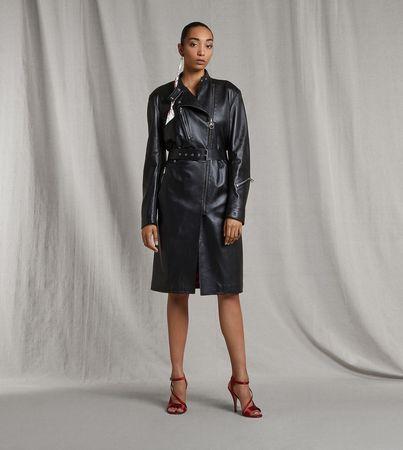 Salvatore Ferragamo  Damen Mantel aus Nappaleder Schwarz grau