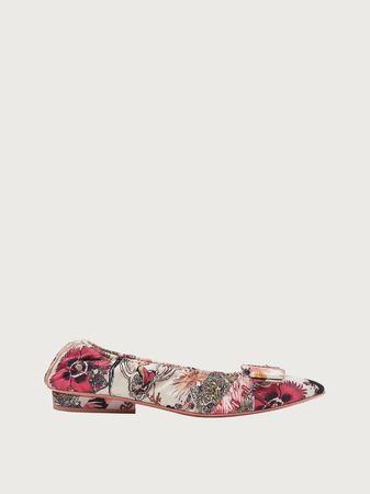 Salvatore Ferragamo  Damen Printed Viva ballet flat Weiß Größe 38