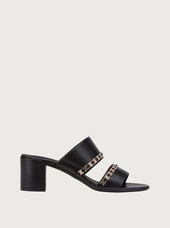 Salvatore Ferragamo  Damen Sandale mit doppeltem Riemen Schwarz Größe 35 grau