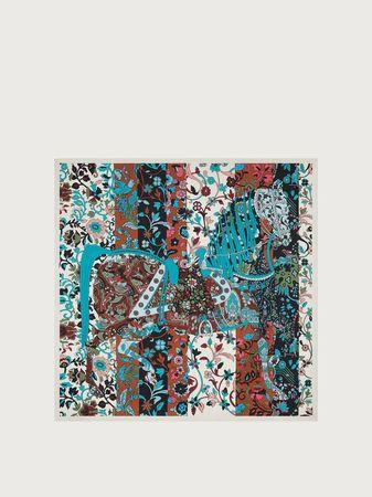Salvatore Ferragamo  Damen Schal mit Prinz von Persien-Printmotiv Schwarz grau