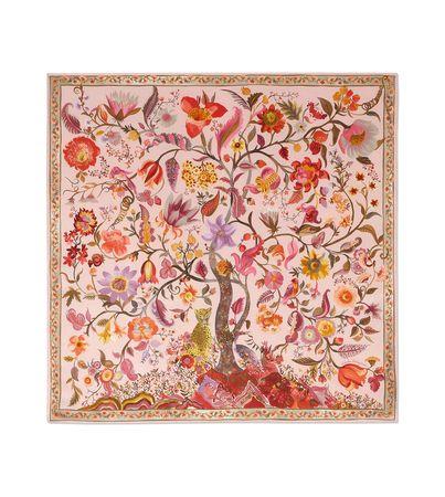 Salvatore Ferragamo  Damen Seidenhalstuch mit Baum des Lebens-Print Rosa braun