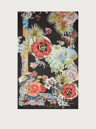 Salvatore Ferragamo  Damen Seidenstola mit Collage-Print Schwarz grau
