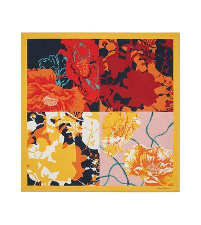 Salvatore Ferragamo  Damen Seidentuch mit Blumen-Print Rot orange