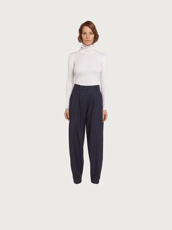 Salvatore Ferragamo  Damen Soft pants in cool virgin wool Blau