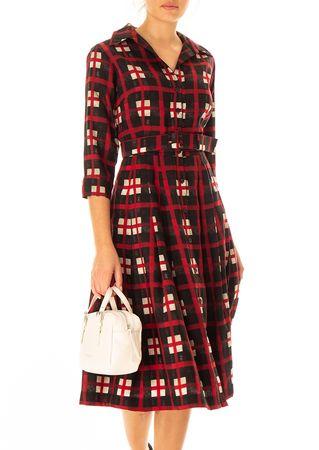 Samantha Sung Blusenkleid aus Woll-Mix mit Karo-Print in Rot braun