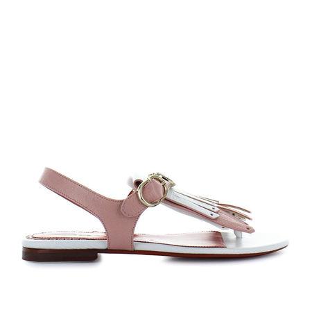 Santoni Sandalen 57015 Kalbsleder weiß rosa braun