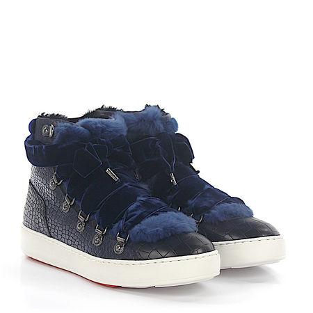 Santoni  Sneaker 60278 High Top Leder Samt blau Krokodilprägung Fell grau