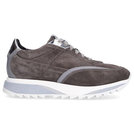 Santoni Sneaker low 60581 Veloursleder Logo dunkelgrau silber grau