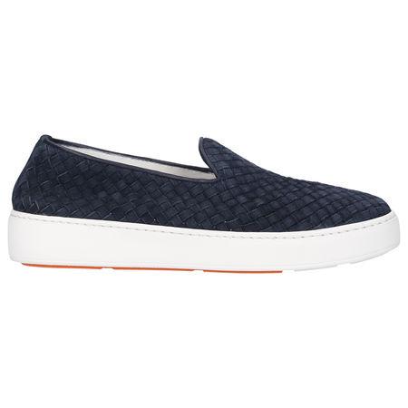 Santoni Sneaker low 60665 Veloursleder Logo blau grau