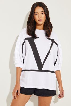 Valentino  - Oversize Shirt 'V' Weiß/Schwarz 100% Baumwolle Made in Italy