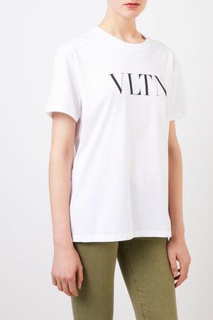 Valentino  - T-Shirt mit VLTN-Logo Weiß/Schwarz 100% Baumwolle Made in Italy