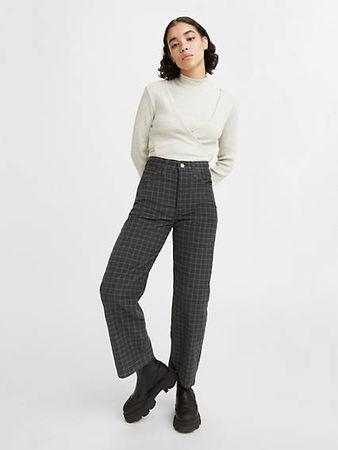 Balenciaga  - Spitzer Leder-Flat mit Pepitamuster Rot/Schwarz