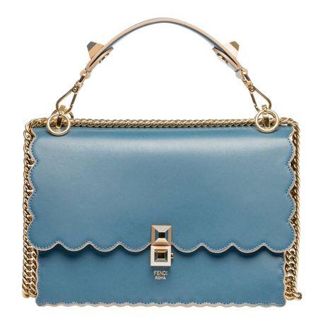 Fendi ® - Schultertasche aus Leder in Marine/Blau/Schwarz für Damen, Größe UNI grau
