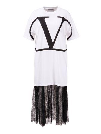 Valentino  - Baumwoll-Kleid mit V-Logo und Spitzenrock Weiß/SchwarzDas klassische T-Shirt von  wird diese Saison als Kleid neu interpretiert und mit einem Rock aus schwarzer Spitze kombiniert. Eine klassische T-Shirt Silhouette in Weiß mit dem t lila