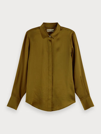 Scotch & Soda  Langärmliges Shirt aus 100% Seide grau