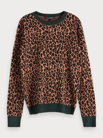 Scotch & Soda  Pullover mit Leoparden-Print grau
