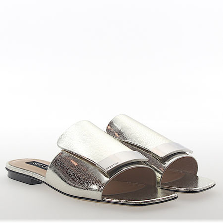Sergio Rossi Sandalen A80380 Leder metallic gold finished Silber-Plated weiss